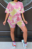 Yellow Summer Women Printing Tie Dye Two-Pieces LD8862
