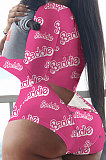 White Pink Letter Euremerican Women Sleepwear Home Wear Multi Printing Romper Shorts Q765
