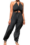 Black Summer Womensweear Sexy Gallus Prior To Bind Casual Jumpsuit LD8820