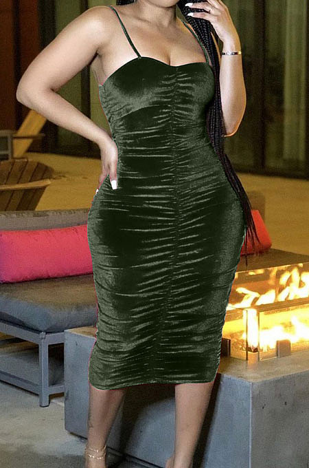 Green Cultivate One's Morality Sexy Ruffle Gallus Long Dress LD9095