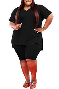 Black Fashion V Neck Pure Color Casual Two-Piece WA7143