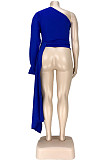 Blue Fasual Prue Color Inclined Shoulder Puff Slevee Asymmetric Top GL7010