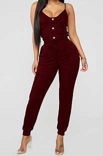 Wine Red Sexy Gallus Nail Buckle Rib Casual Jumpsuits LD8826