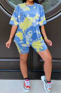 Light Blue Summer Women Printing Tie Dye Two-Pieces LD8862