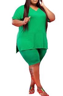 Green Fashion V Neck Pure Color Casual Two-Piece WA7143