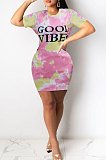 Navy Blue Euramerican Women Sexy Cultivate One's Morality Letter Printing Mini Dress LD8822