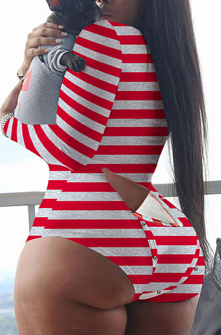 Red White Stripe Euremerican Women Sleepwear Home Wear Multi Printing Romper Shorts Q765