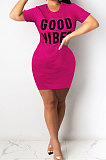Wine Red Euramerican Women Sexy Cultivate One's Morality Letter Printing Mini Dress LD8822