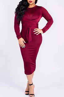 Wine Red Silver Fox Wool Bind Casual Dresses QSS5003
