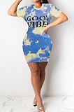 Orange Euramerican Women Sexy Cultivate One's Morality Letter Printing Mini Dress LD8822