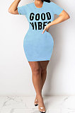 Light Blue Euramerican Women Sexy Cultivate One's Morality Letter Printing Mini Dress LD8822