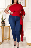 Red Fasual Prue Color Inclined Shoulder Puff Slevee Asymmetric Top GL7010