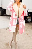 Pink Autumn Winter Fashion Letter Fur Rollar Long Coat WME1015