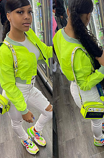 Neon Green Fashion Round Neck Casual Coat WME1017