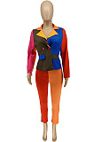 Multicolor Fashion Casual Joining Together Contrast Color Suit Jacket WME1019