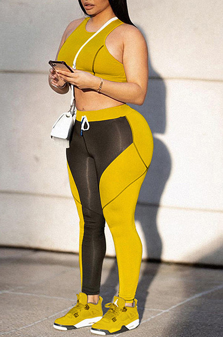 Yellow Fashion Temperament Print Additive Two-Piece WME2022
