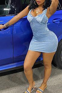 أزرق فاتح مثير أزياء حبال فستان قصير WME1007
