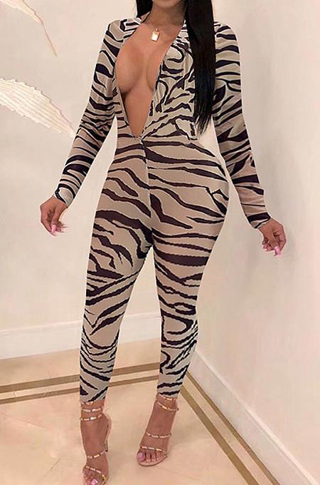 Leopard Print Sexy Temperament V Neck Backless Jumpsuits WME1014