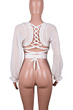 White Fashion Sexy Prue Color Hollow Out Hubble Sleeve Georgette WME1001