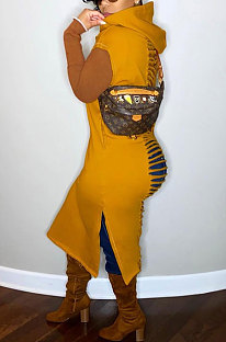 Φόρεμα με φούτερ με κουκούλα με φούτερ με διπλή τσέπη και καρό λουλούδι RMH8176
