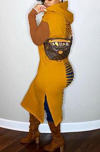 Burnt Flower Double Pocket Hooded Waistcoat Midi Dress RMH8176