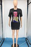 Persoonlijkheid Afdrukken Mode Casaul T-shirts Mini Jurk RMH8175