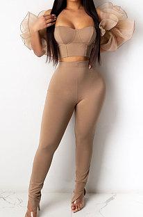 Sexy Mesh Splicing Bodycon Women Solid Color Fashion Sets YW0378