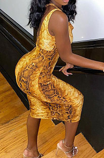 Snakeskin Inclined Shoulder Sexy Irregular Halterneck Midi Dress RMH8179