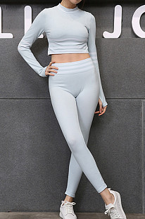 Yoga Stripe Seamless Tight-fitting Long Sleeve Hip-lifting High Waist Running Casual Suit TX021-1