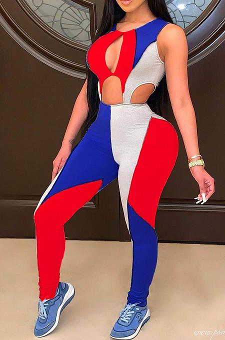 Mode Casual Dames Kleurrijk Samenvoegen Uitgehold Jumpsuits MDF5210