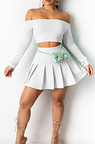 Sexy Fashion Stuapless Pleated Skirt Two-Piece BS1250