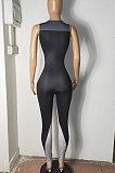 Strakke kleine vest met gesmokte detail broek Yoga bodycon jumpsuits R6411