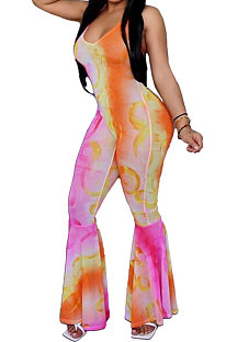 Flare-beenbroek Tie Dye Back Hollow Out Bind Falbala Casual jumpsuit RMH0698