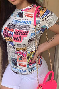 Euramerican lente zomer ronde hals afdrukken T-shirts BLE2247