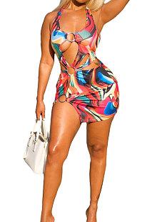Сексуальные сплошные купальники с геометрическим рисунком и кольцом для бикини XQ1085