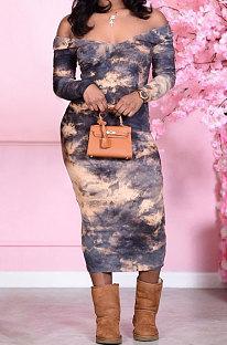 Euramerican Trendy Γυναικεία παπιγιόν Βαφή V Neck Casual Midi Dress RMH8174