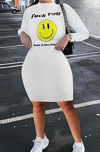 Letter Smiling Face Printing Tight Package Buttocks Mini Dress RMH8171