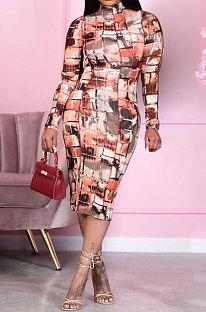 Fashion Women Plaid Tie Dye Printing High Neck Long Sleeve  Midi Dress RMH8173