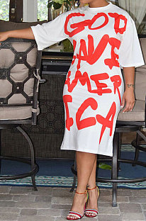 Euramerican Women Spring Summer Short Sleeves Personality Letter Printing Midi Dress RMH8903