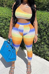 Mode Femmes Gradient Coloré Coloré Positionnement Impression Deux Pièces HR8159
