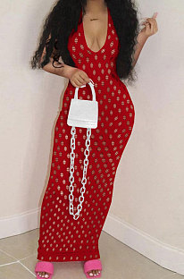 Hollow Out Perspective Net Yarn Pure Color Long Dress QQM4220