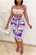 Fashion Print Bind Skirt Two-Piece SQ937