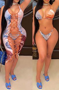 Модный принт блузка с завязками для бикини платья из трех частей SQ936