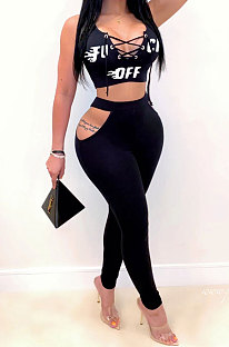 Euramerican Trendy Women Sexy Lovely Hollow Out Bind Letter Printing Pants Sets HAA9018