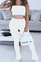 Trendy Casual Sexy Pure Color Bandeau Bra Trouser Leg Side Open Fork Cultivate One's Morality  Pants Sets SM9155