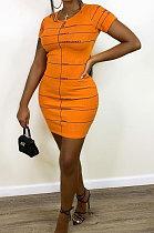 Yellow Printing Mini Dress QMQ7016