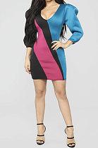 Air Layer Stripe Printing Contrast Color Mini Dress QMQ7006