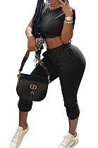 Women Pure Color Casual Trendy Pants Sets QHH8617