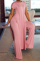 Women Pure Color Casual Short Sleeve Long Pants Two-Pieces XT887