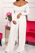 Long Sleeve Pure Color Loose Sexy Casual Straight Leg Pants Sets KZ160